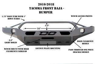 Picture of DEMELLO OFF-ROAD TACOMA BAJA FRONT BUMPER 16-20